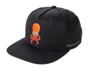 Tentacle Sync cap in black with embroidered orange octopus