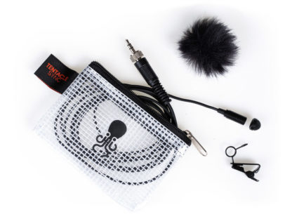 Lavalier microphone packed in an octopus print zipper bag with a neat clip and windjammer