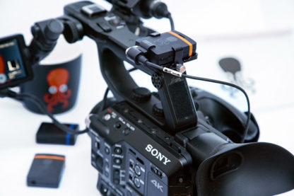 SYNC E mounted with LanParte bracket on Sony FS5
