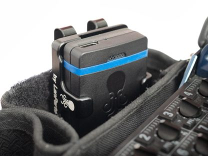Sync E bracket attached with belt clip to sound bag