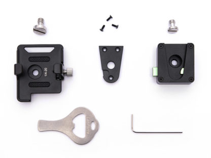 SYNC E bracket with 1/4 inch screw, quick release mount with 1/4 inch screw, 4 small screws, slot screwdriver