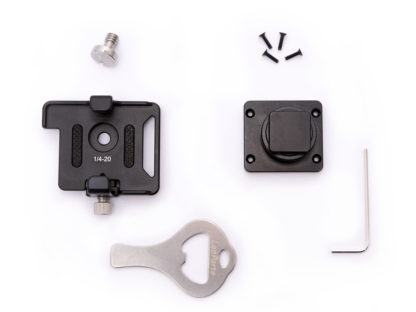 SYNC E bracket with 1/4 inch screw, cold shoe mount, 4 small screws, slot screwdriver