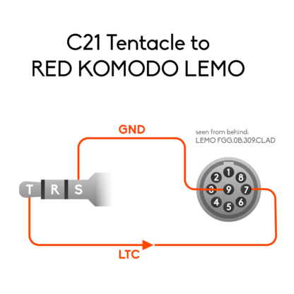 Wiring of 3.5mm mini jack to RED KOMODO LEMO connector