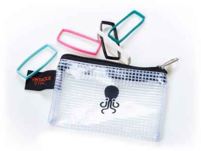 Track E silicone bands with black small octopus zipperbag